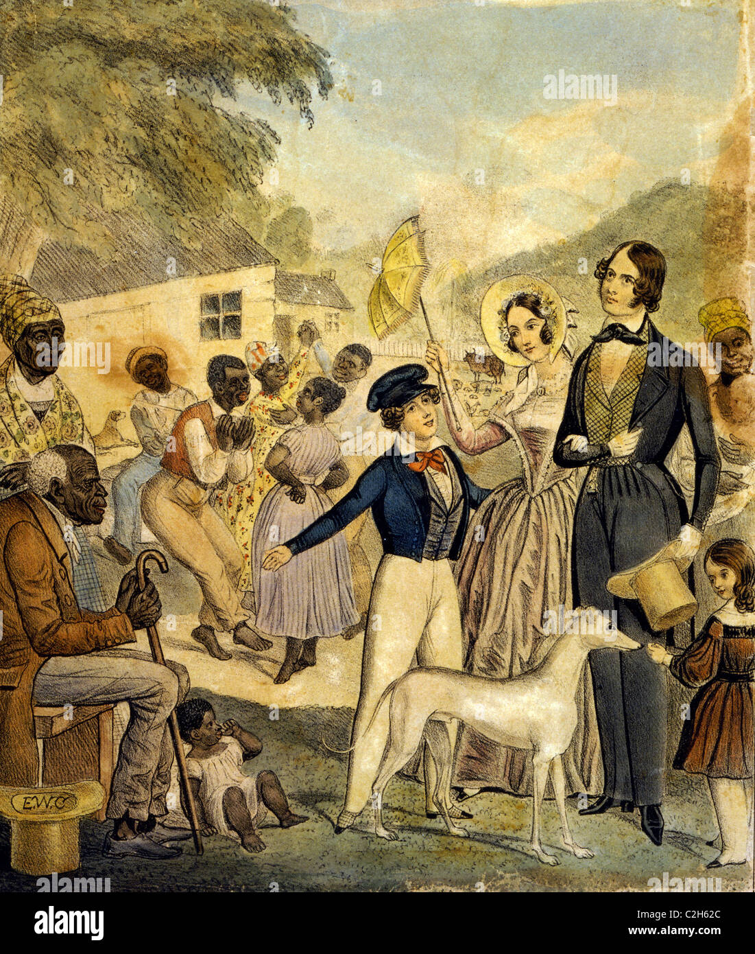 An idealized portrayal of American slavery and the conditions of blacks under this system in 1841. - Stock Image