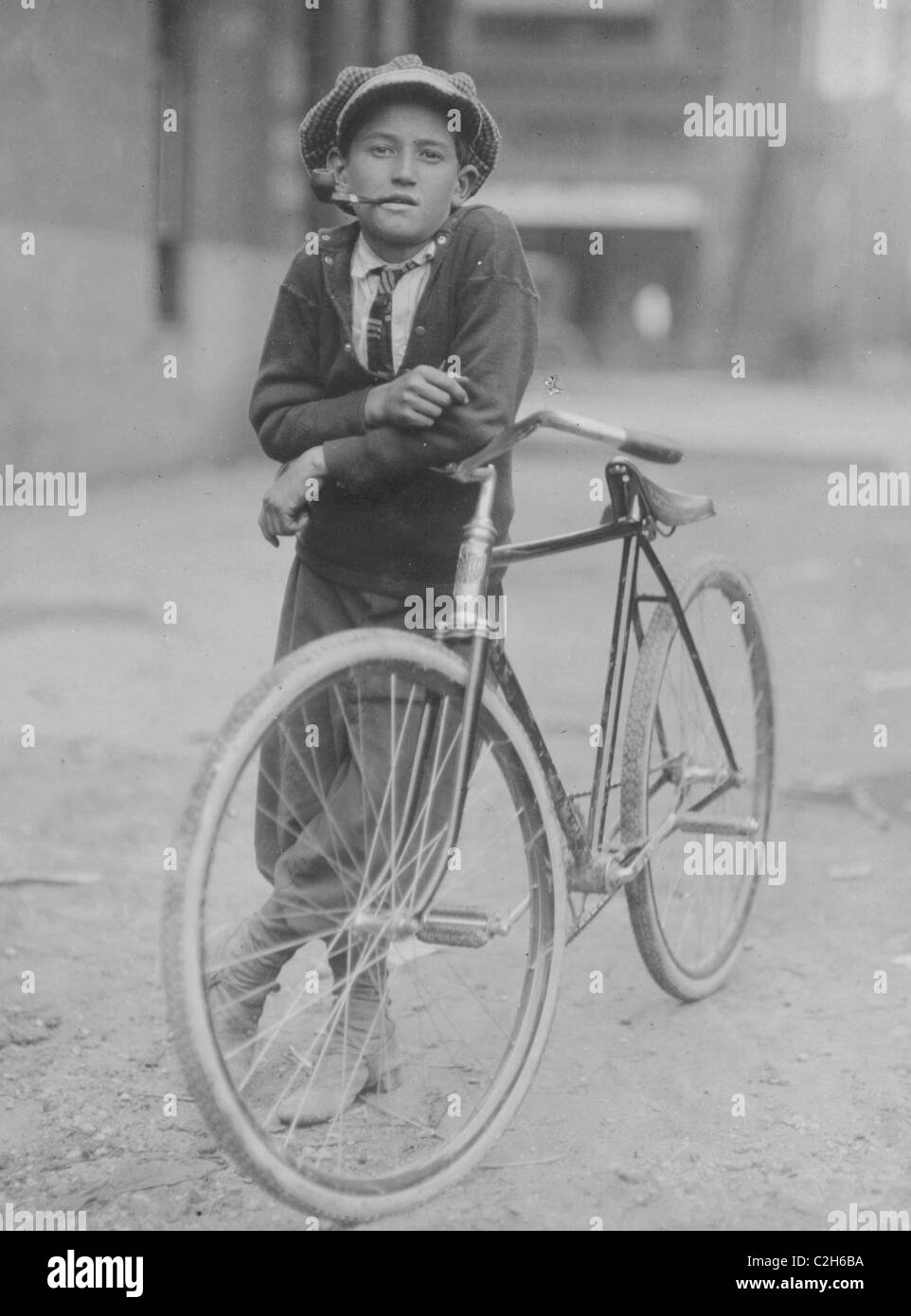 Messenger boy working for Mackay Telegraph Company. Said fifteen years old. Exposed to Red Light dangers. - Stock Image