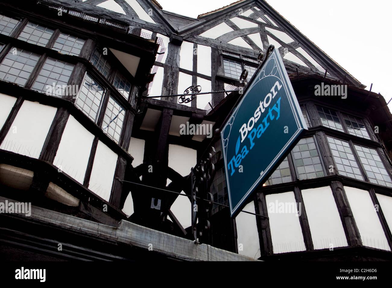 Teashop sign Salisbury old style architecture design  England UK Stock Photo