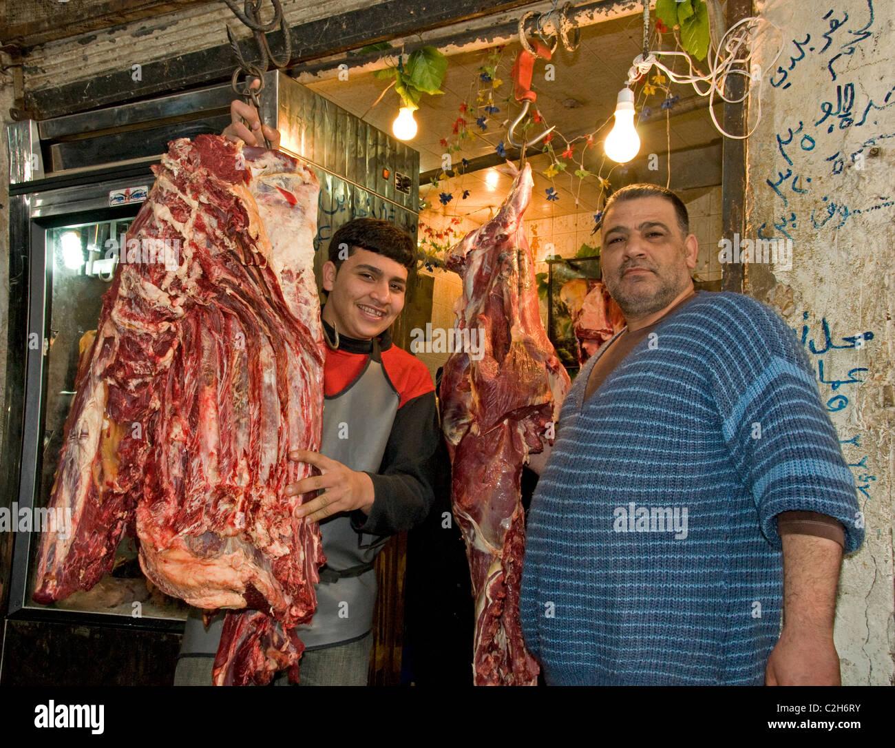 Homs Syria Butcher shop trade Bazaar Souq market - Stock Image
