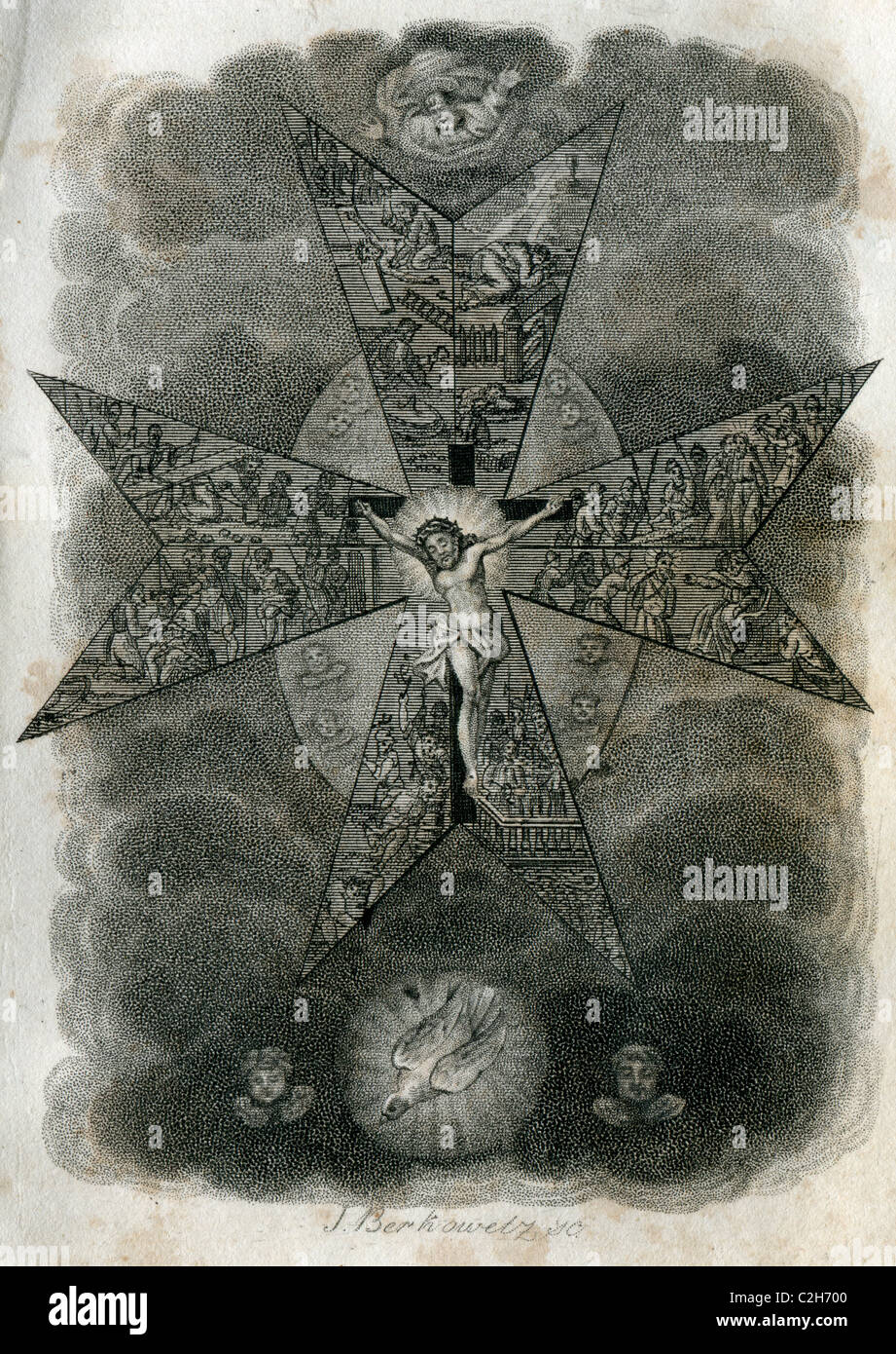 The Maltese cross (1843 J.Berkowetz Steel engraving) - Stock Image