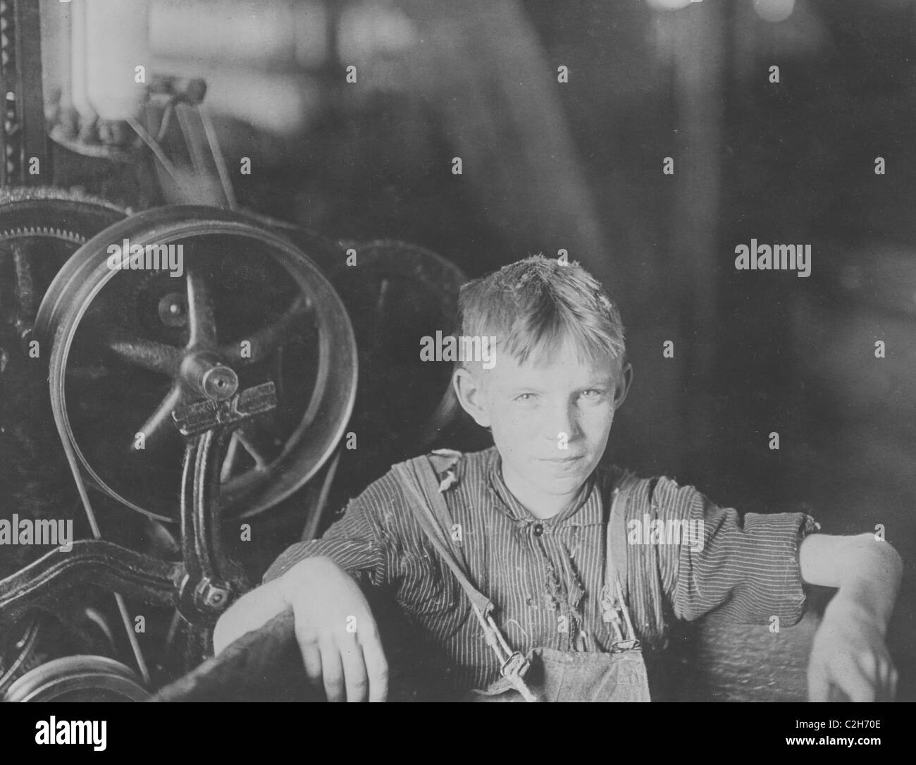 A young Polish spinner in the Quidwick Co. Mill. Anthony, R. I - Stock Image