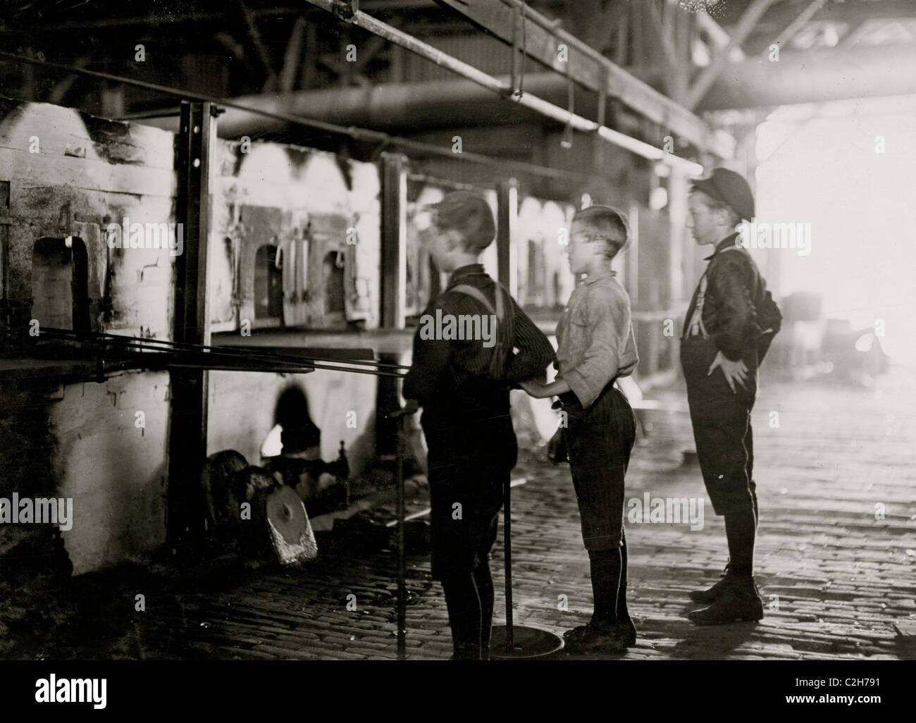 Boys at Lehr, Economy Glass Works - Stock Image