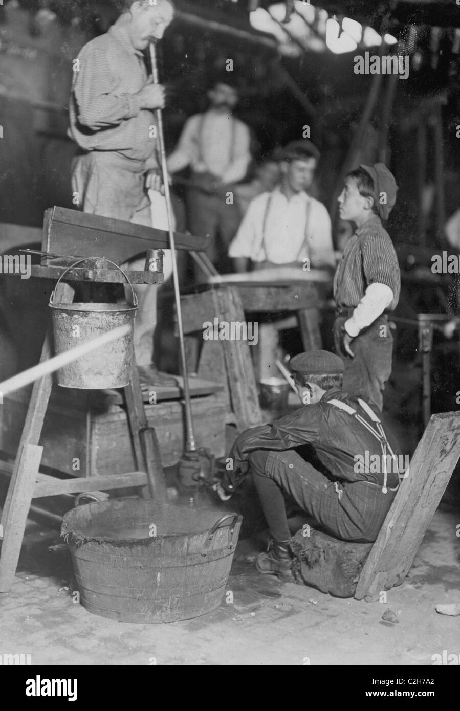 Blower and Mold Boy, Seneca Glass Works, Morgantown, W. Va. - Stock Image