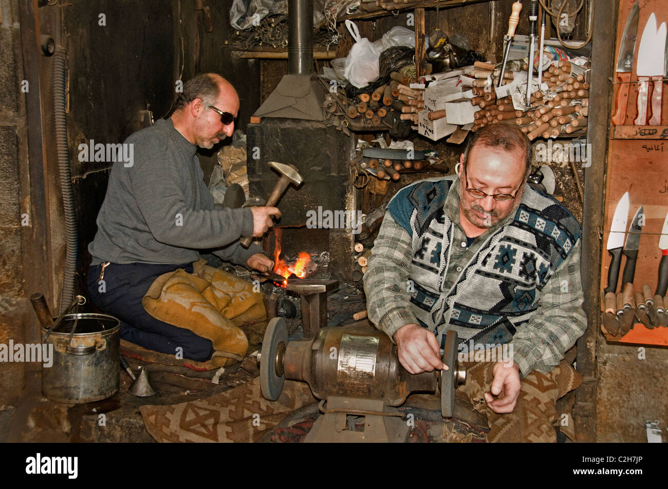 Homs Syria  backsmith smith back  hammer  Bazaar - Stock Image