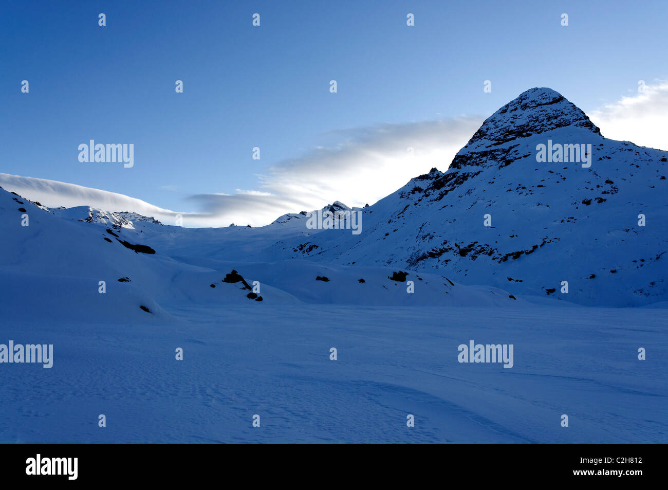 Early morning scenery whilst ski touring in the Haute Maurienne in the French Alps. Stock Photo