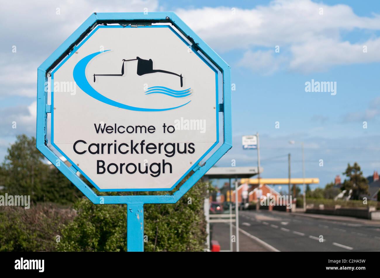 "Sign for Carrickfergus Borough Council. ""Welcome to Carrickfergus Borough"" Stock Photo"