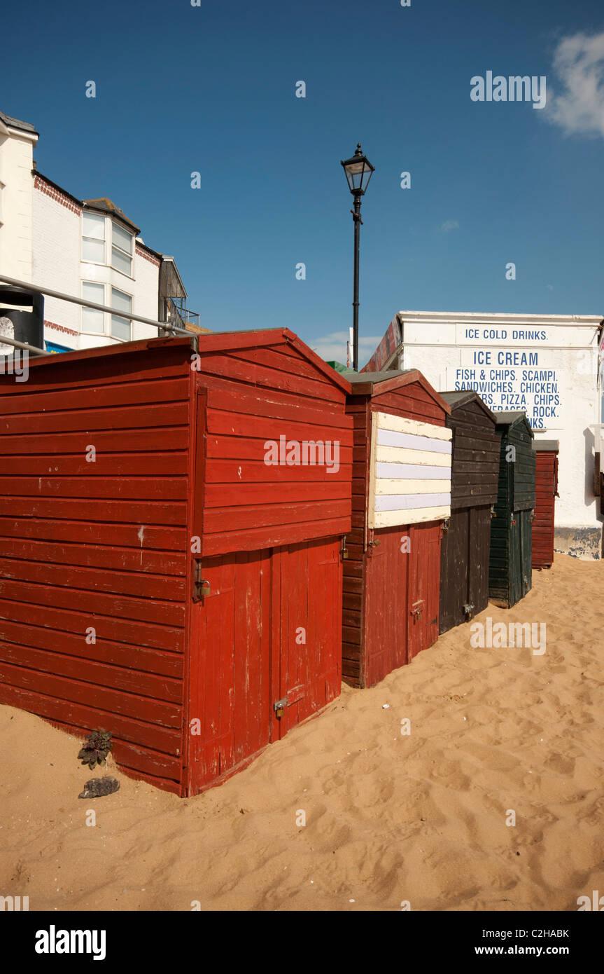 Beach huts at harbour broadstairs Kent UK - Stock Image