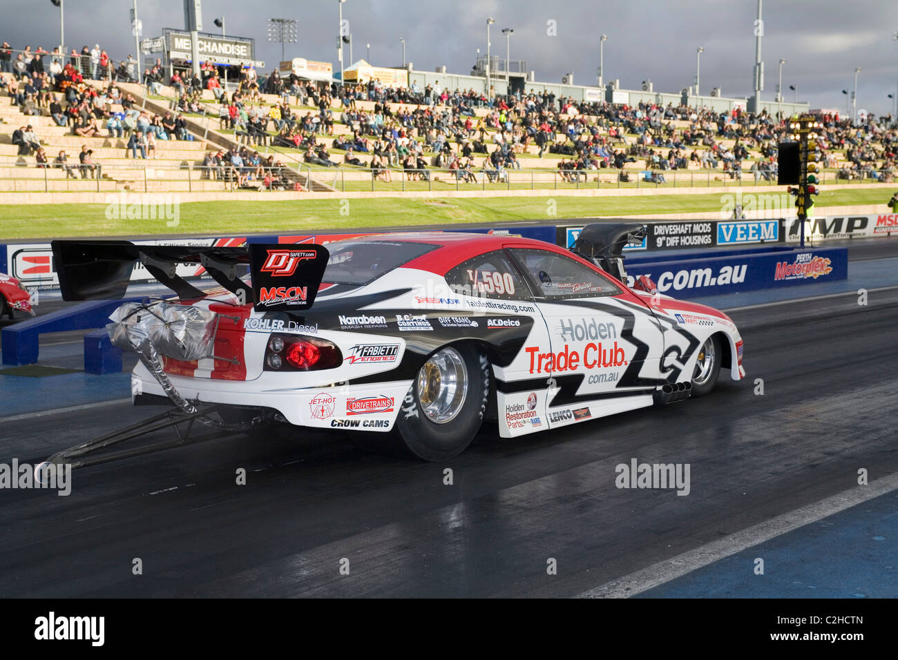 Australian drag racer, Maurice Fabietti, puts his Holden Commodore ...