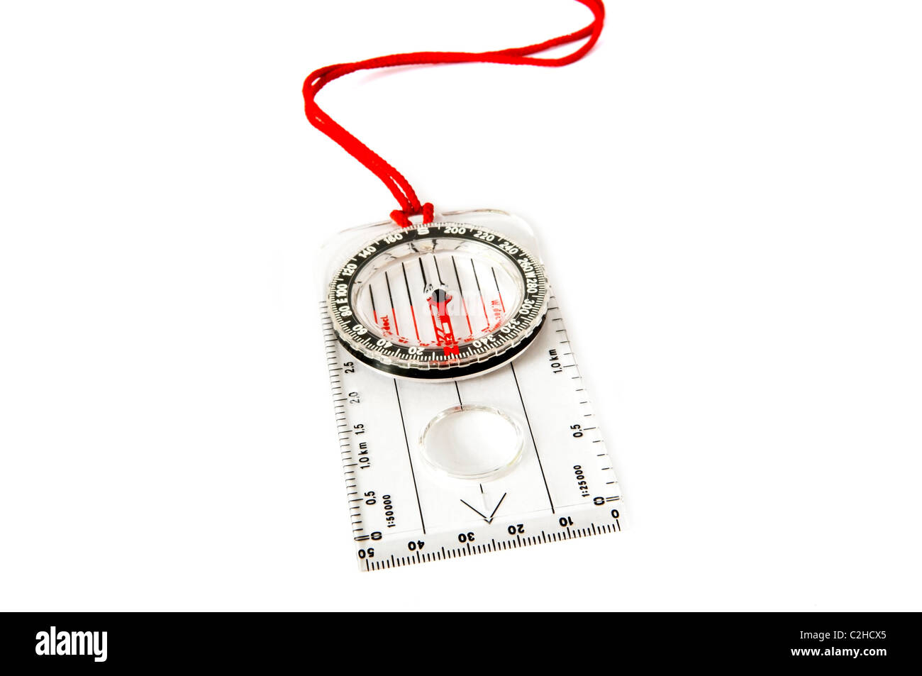 Classic orienteering compass isolated over white - Stock Image