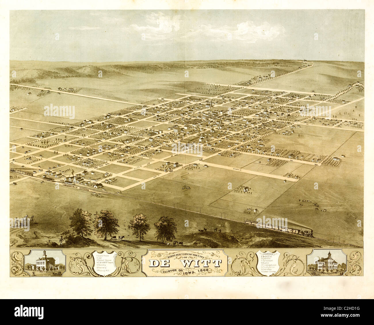DeWitt. Iowa 1868 - Stock Image