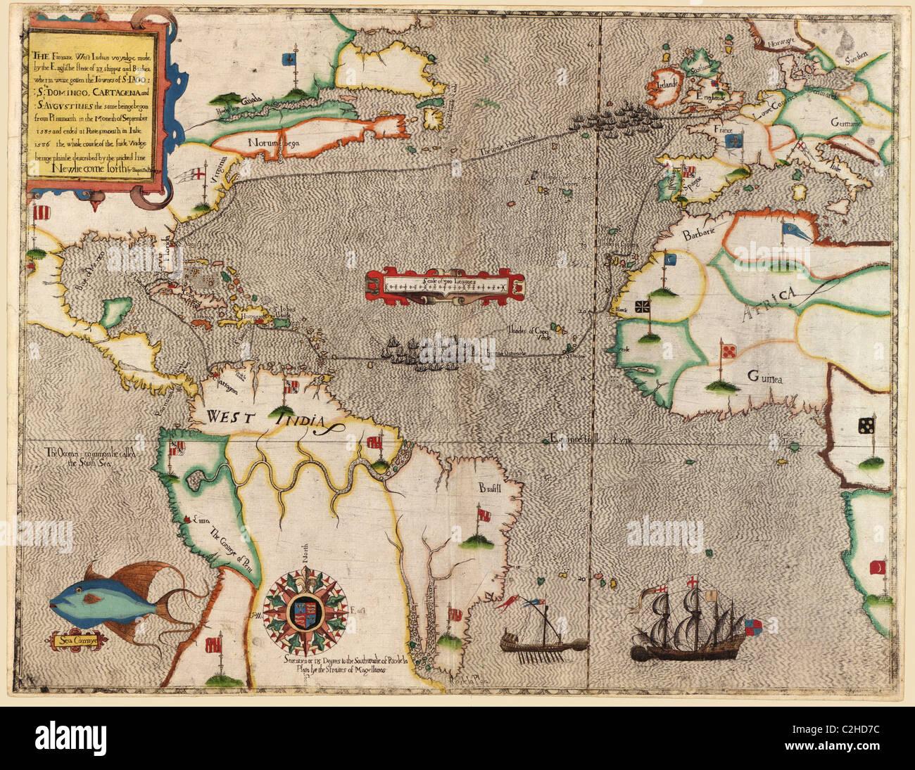 Sir Francis Drake in Santa Domingo 1589 - Stock Image