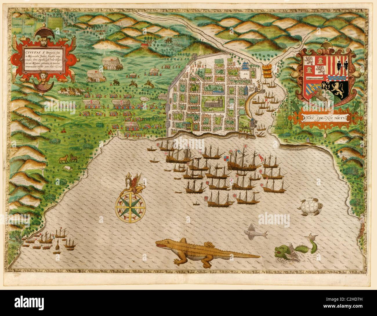 Voyages of Sir Francis Drake 1589 - Stock Image