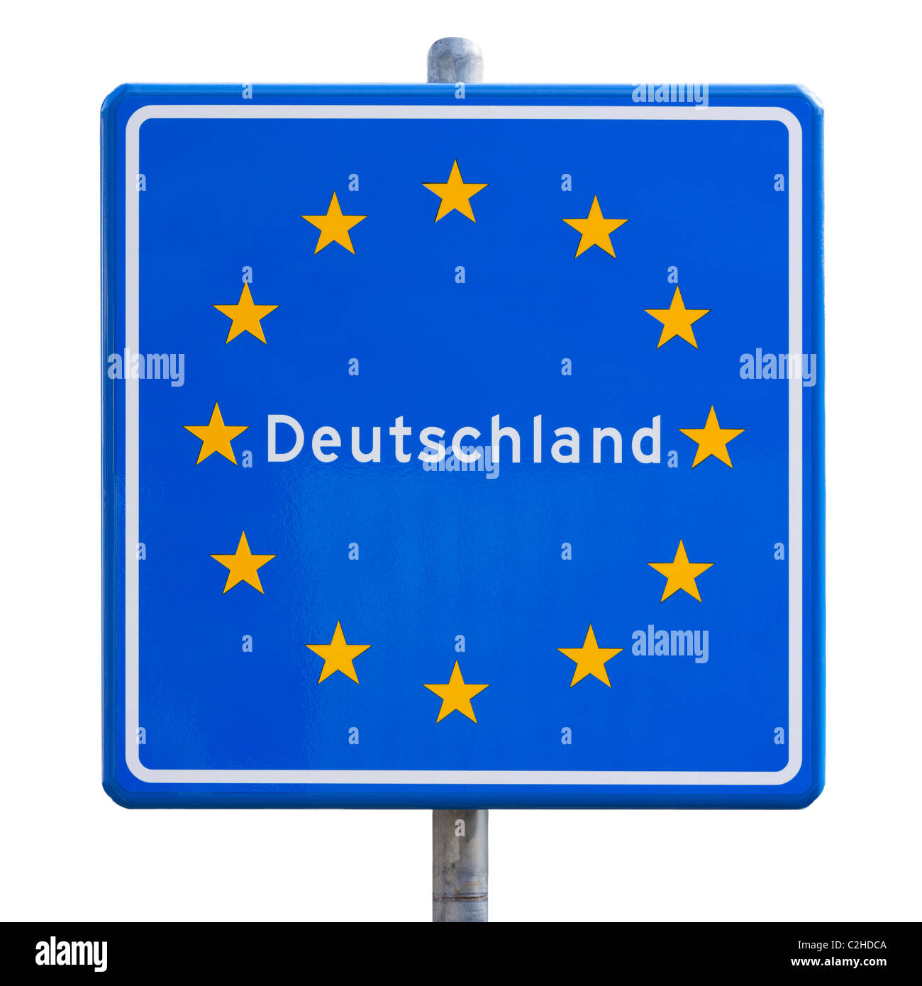 EU European Union border sign for Germany, Deutschland ...