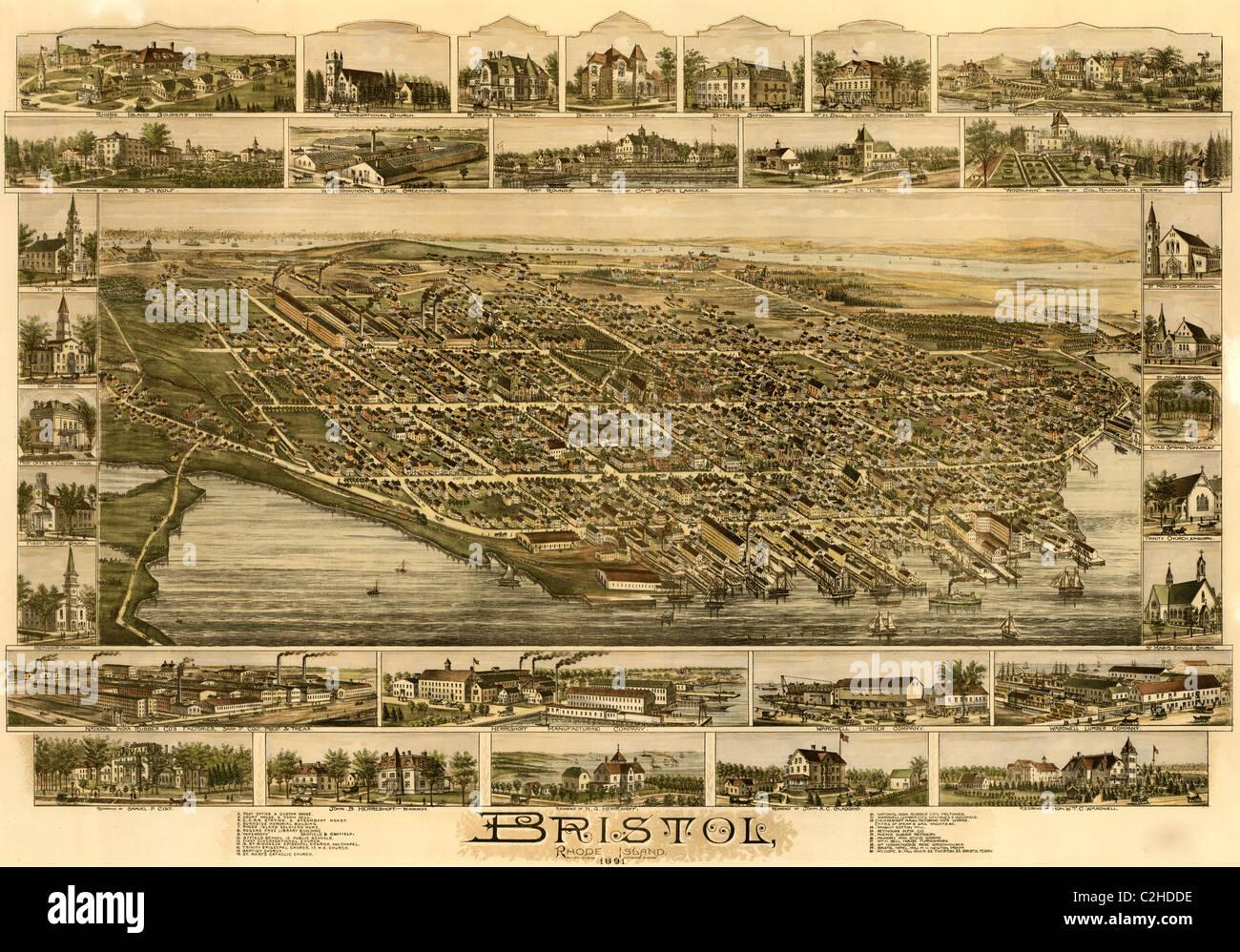 Bristol Rhode Island 1891 Stock Image