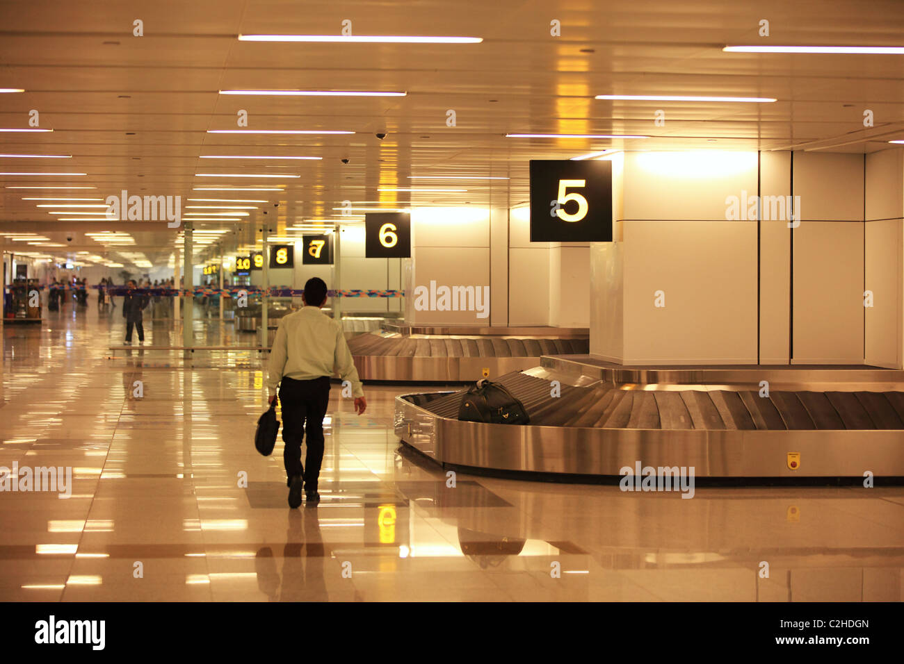 Arrival and luggage area at the Delhi airport North India - Stock Image