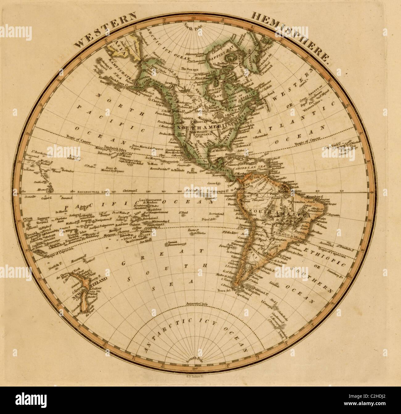 Western Hemisphere -1817 - Stock Image