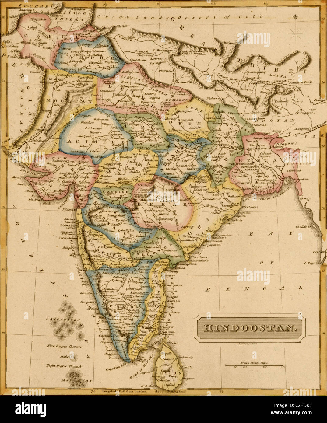 Hindustan, Hindoostan, India - 1817 - Stock Image