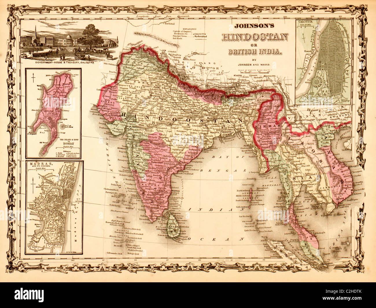 India, Hindustan 1862 - Stock Image