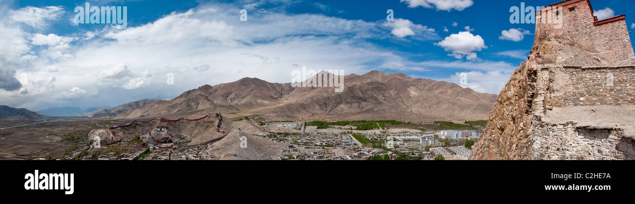 Panorama of Gyantse for the Fort Stock Photo