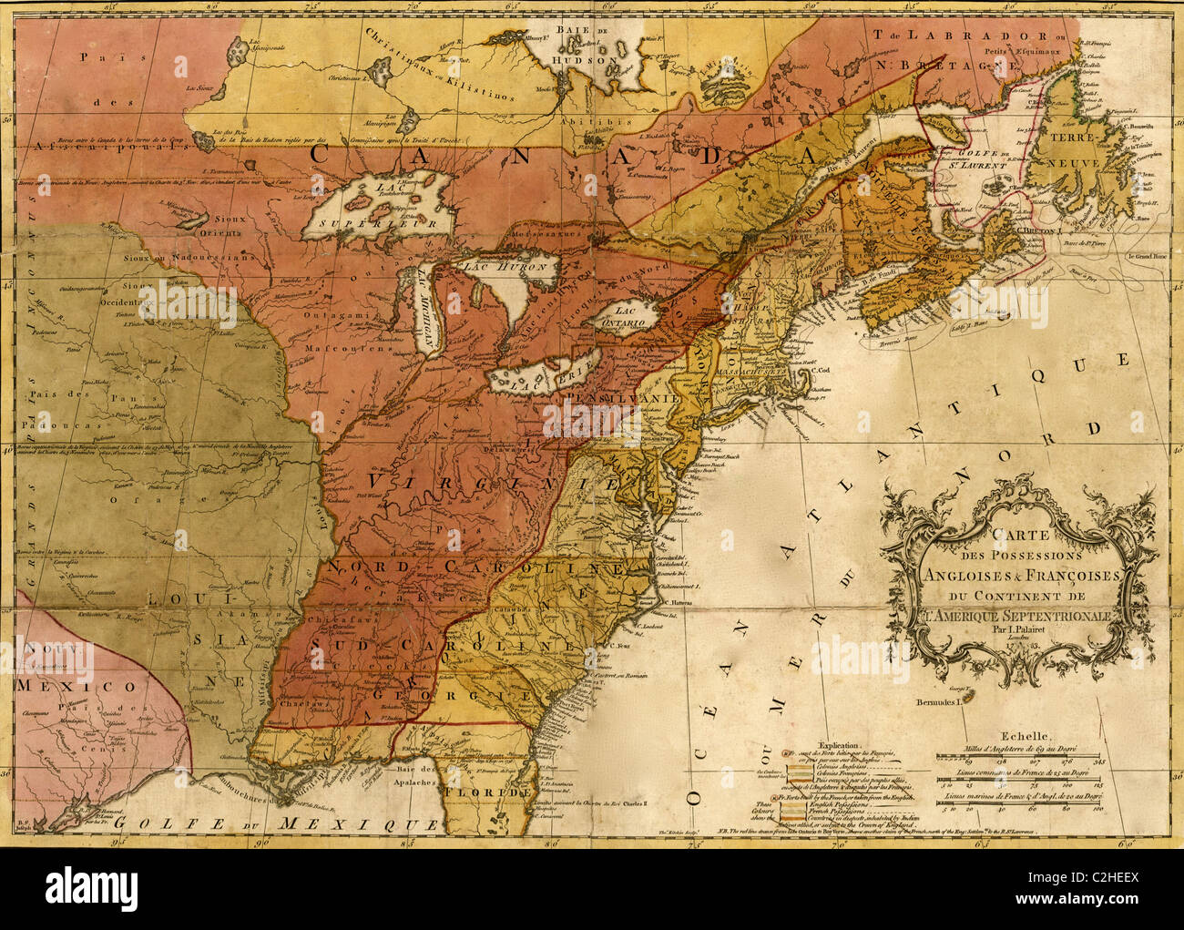 Map Of North America 1763.English French Possessions In North America 1763 Stock Photo