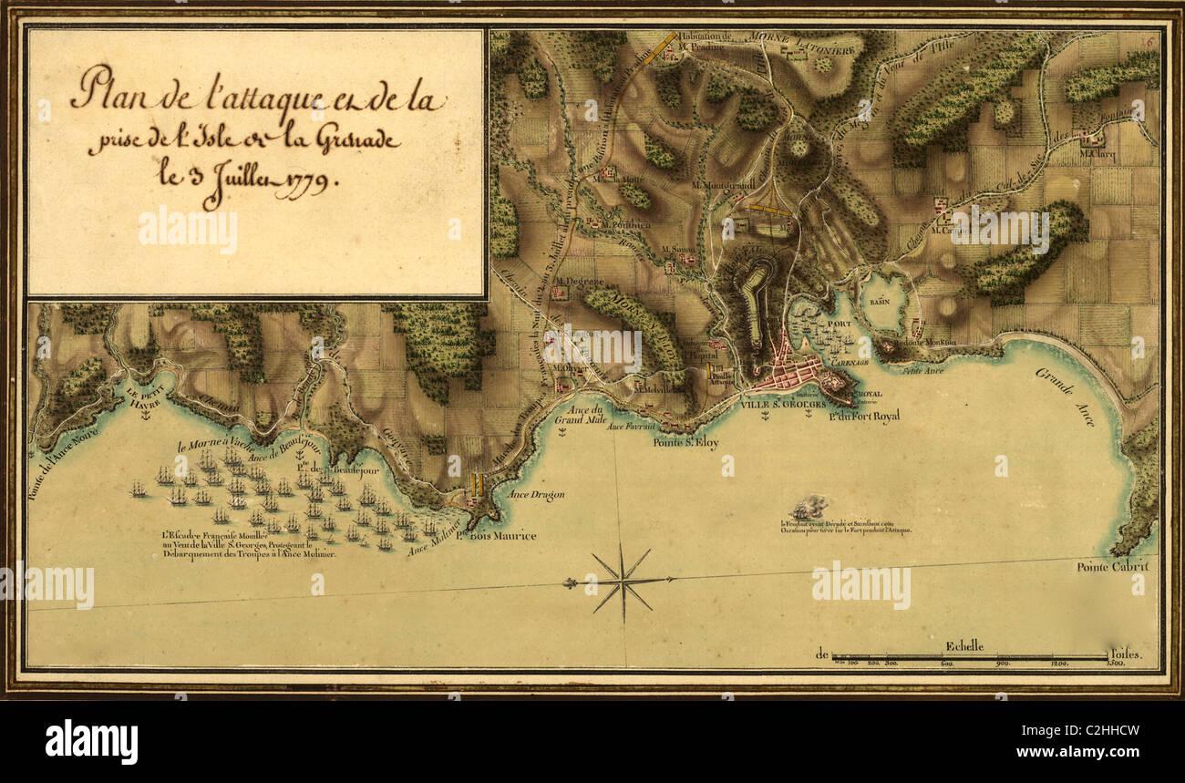 Plan de l'attaque et de la prise de l'isle de la Grenade le 3 juillet 1779. - Stock Image