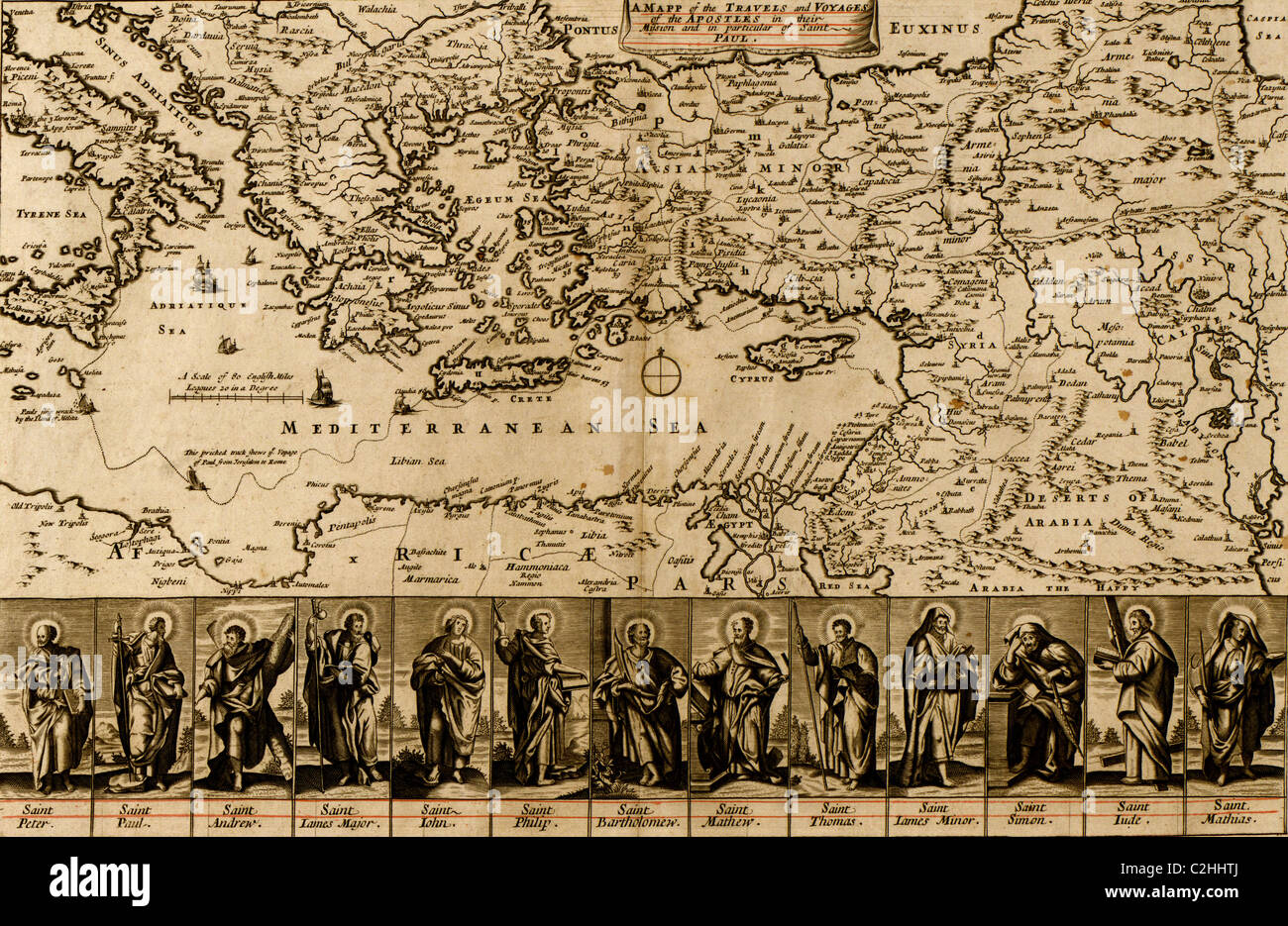 Map of the Travels & Voyages of the Apostles - Stock Image