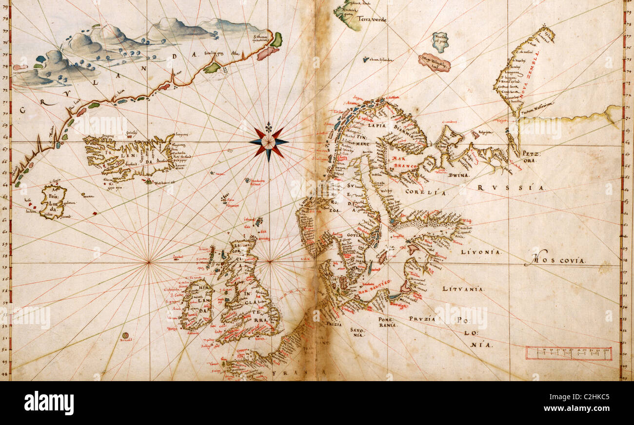 portuguese map of northern europe scandinavia 1630 stock image