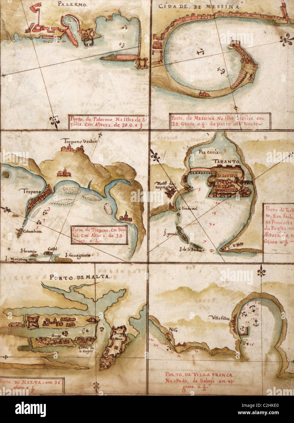 Portuguese maps of the Mediterranean - 1630 - Stock Image