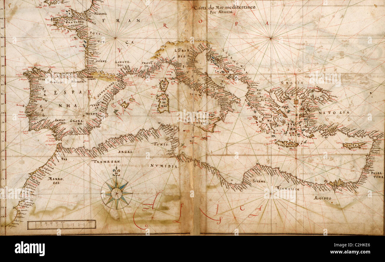 Portuguese maps of the Mediterranean Countries - 1630 - Stock Image