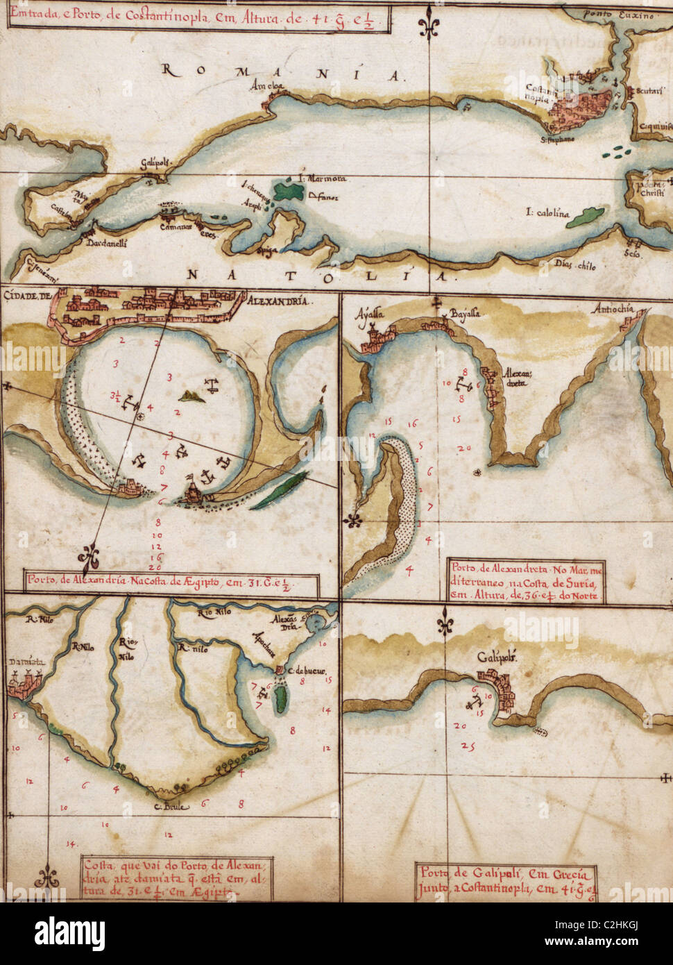 Portuguese maps of Turkey, & the Port of Alexandria - 1630 - Stock Image