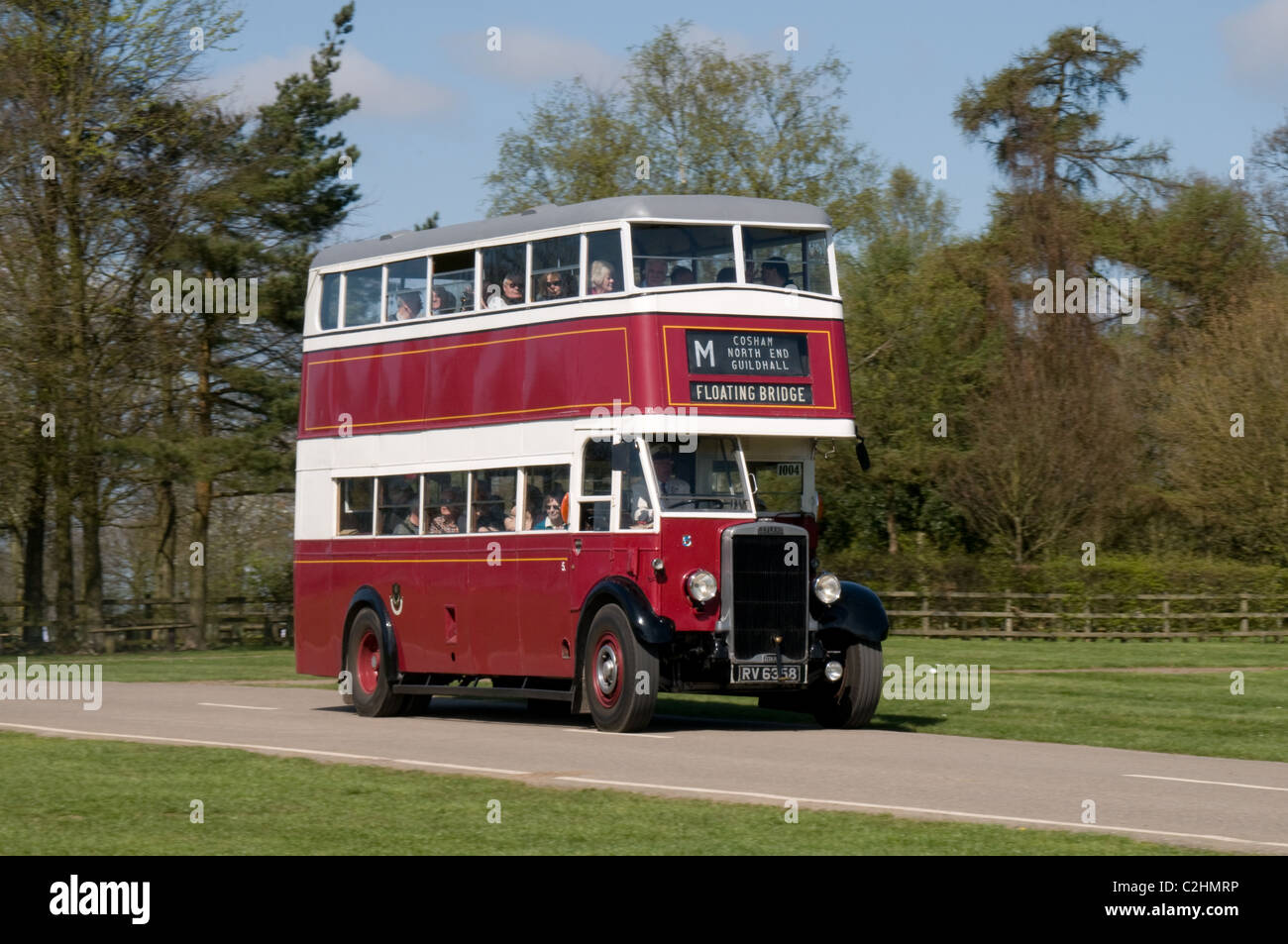 A preserved Leyland Titan TD4 with English Electric bodywork at an event to celebrated 100 years of a bus company - Stock Image