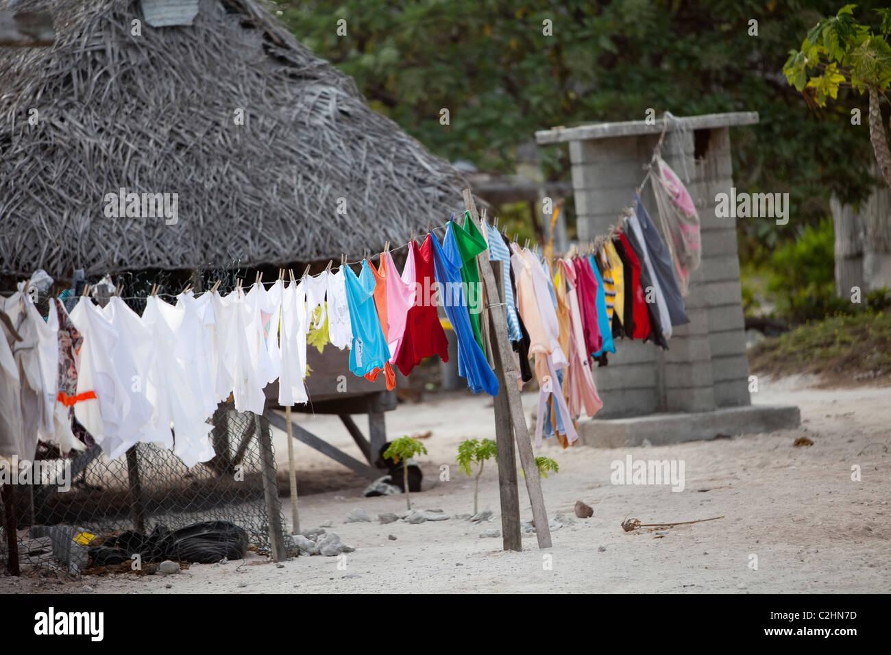 Kiritimati, Kiribati, Christmas Island, village scene - Stock Image