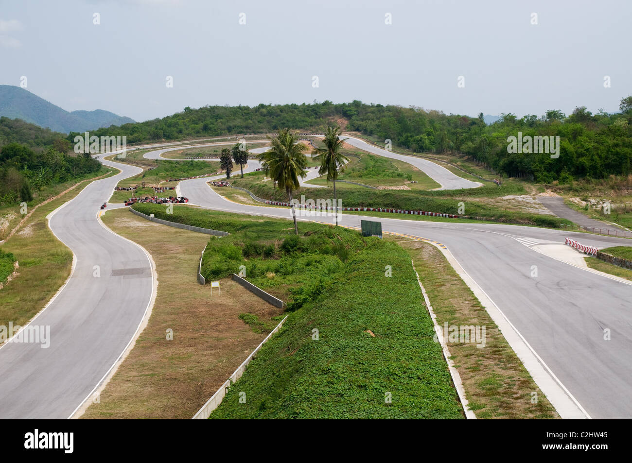 The Kaeng Krachan race circuit in Petchaburi province, Thailand with no cars. Stock Photo