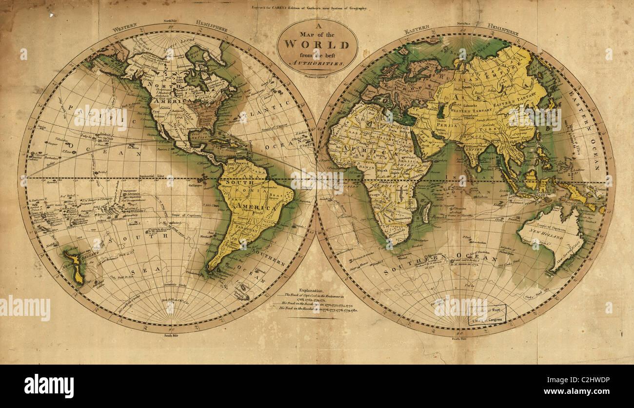 World Map - 1795 - Stock Image