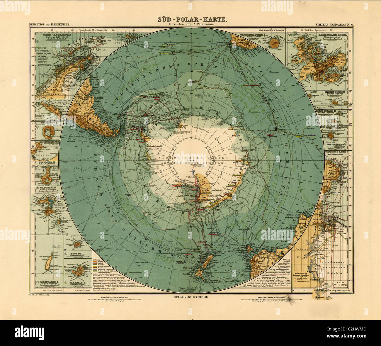 Map of the South Pole- Antarctica - 1912 - Stock Image