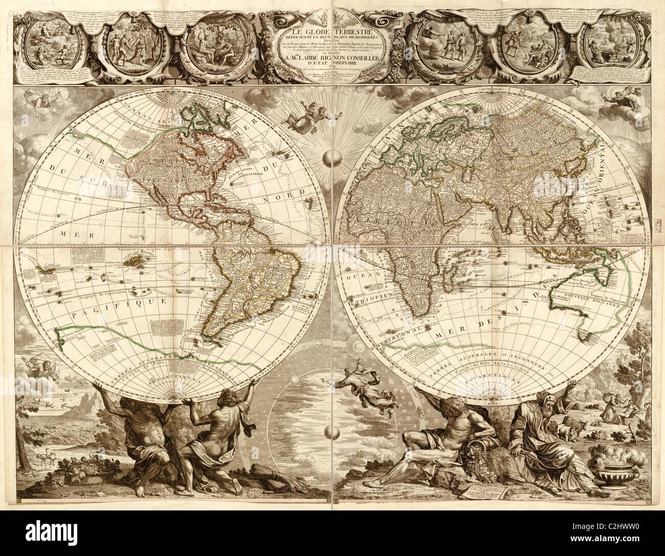Globe in 1708 - World - Stock Image