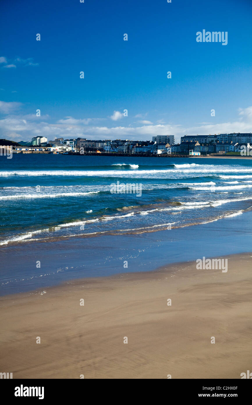 View across West Strand to Portrush, County Antrim, Northern Ireland. Stock Photo