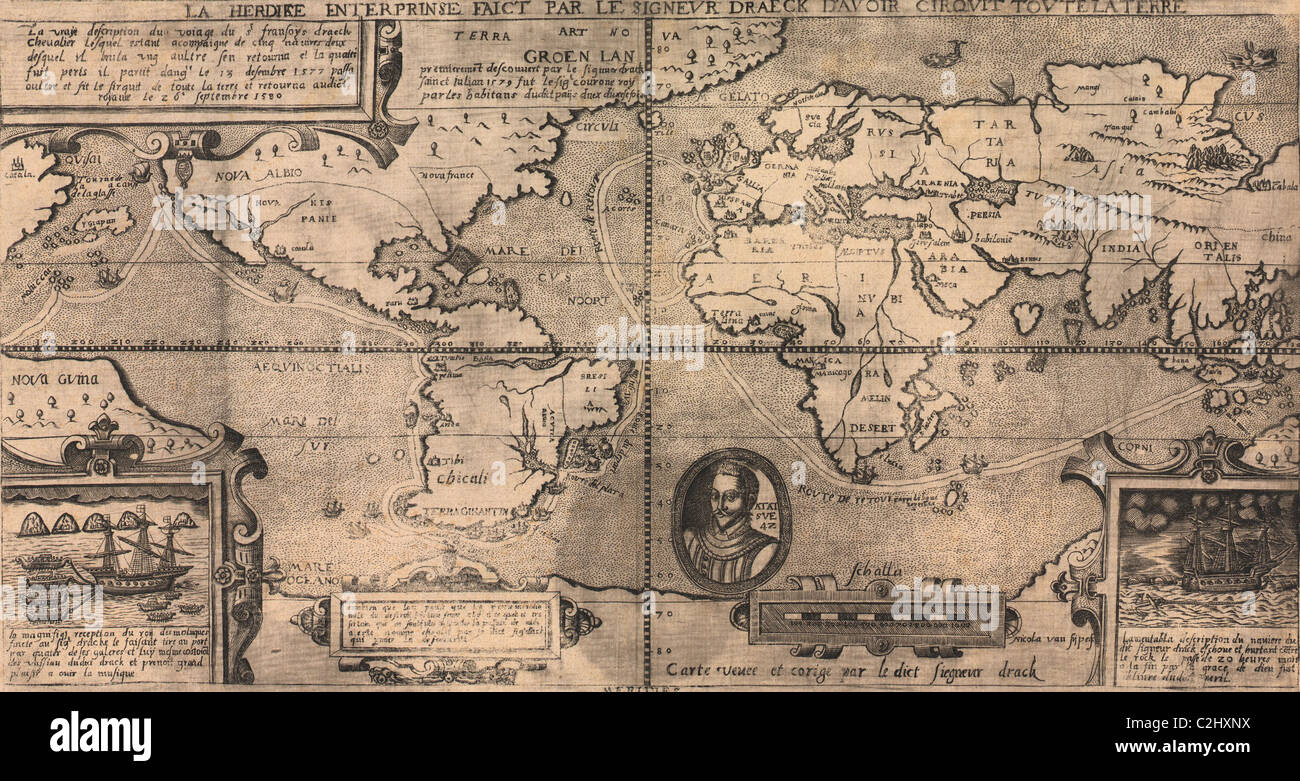 Sir Francis Drake World Map - 1581 - Stock Image