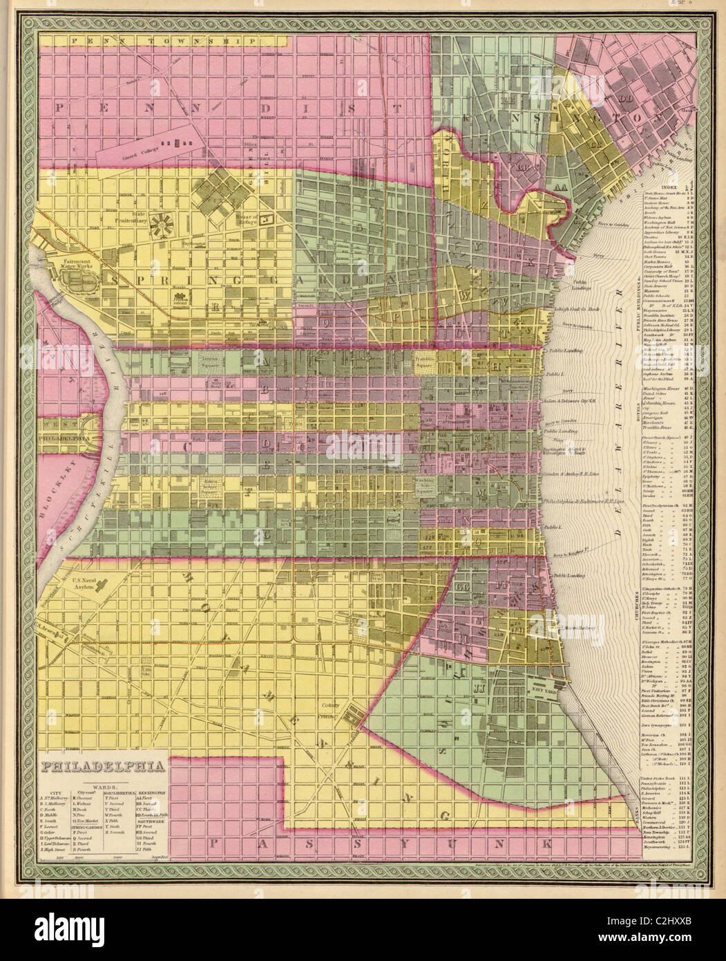 City of Philadelphia - 1849 - Stock Image