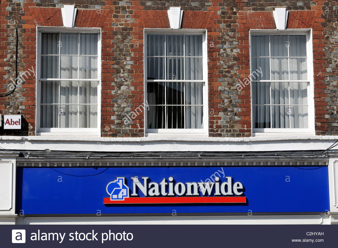 Looking up at the branch of Nationwide Building Society at Blandford Forum in Dorset, England - Stock Image