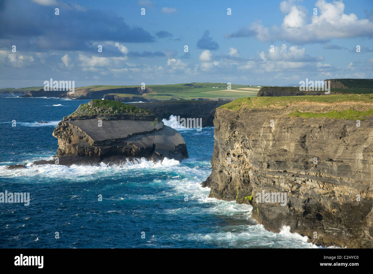 Atlantic cliffs and coastline near Loop Head, County Clare, Ireland. - Stock Image