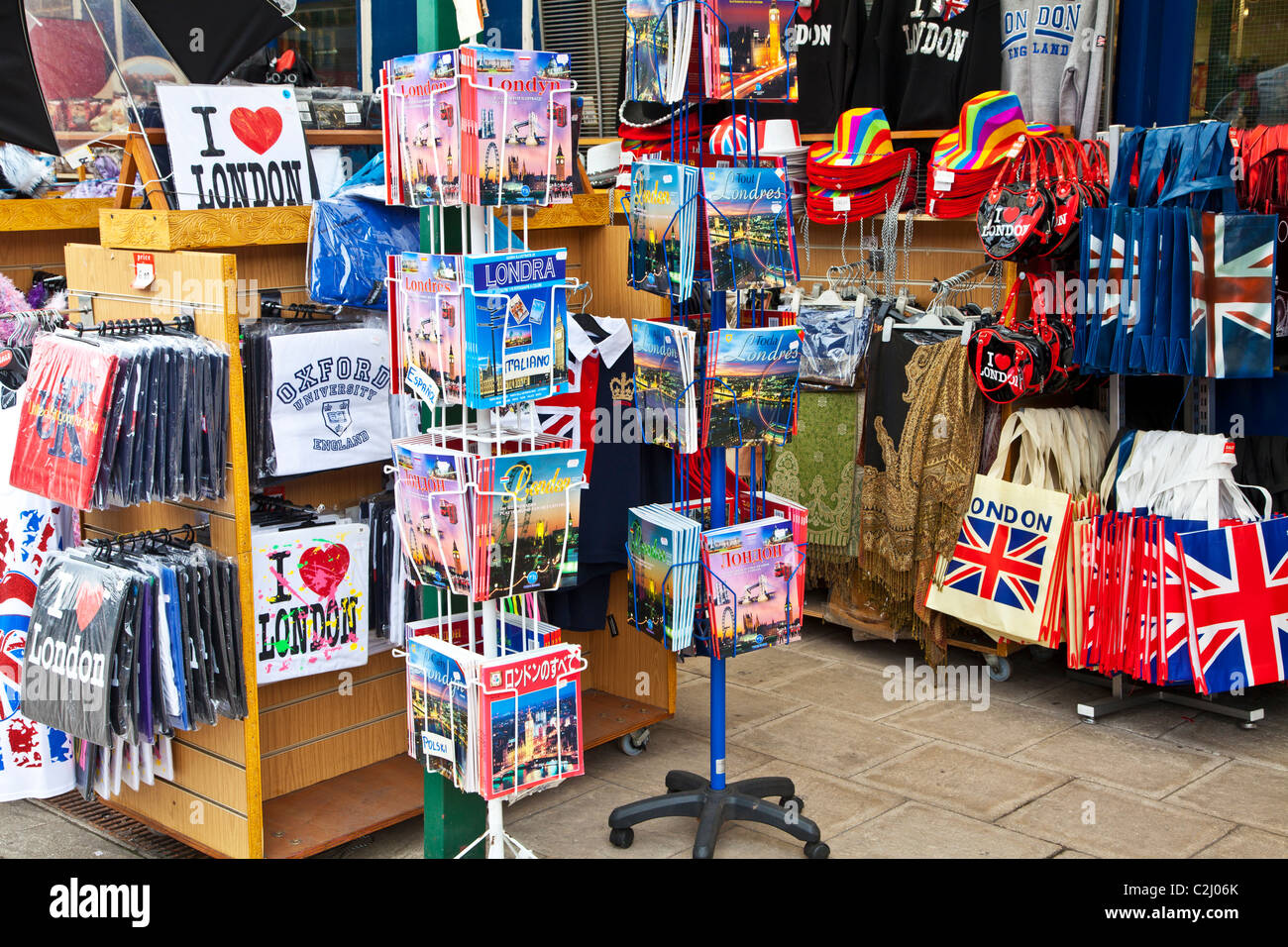 Display of souvenirs,memorabilia and gifts of England and London outside a shop in Windsor, Berkshire, England, - Stock Image