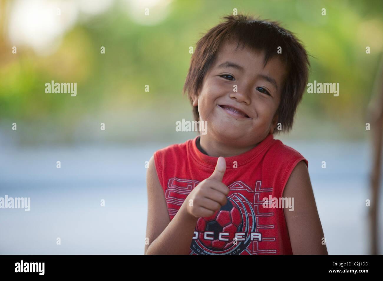 Kiritimati, Kiribati, Christmas Island, portrait of young island boy - Stock Image
