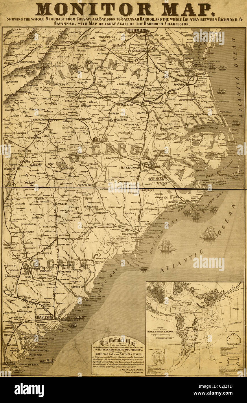 Eastern Seaboard in 1863 - Stock Image
