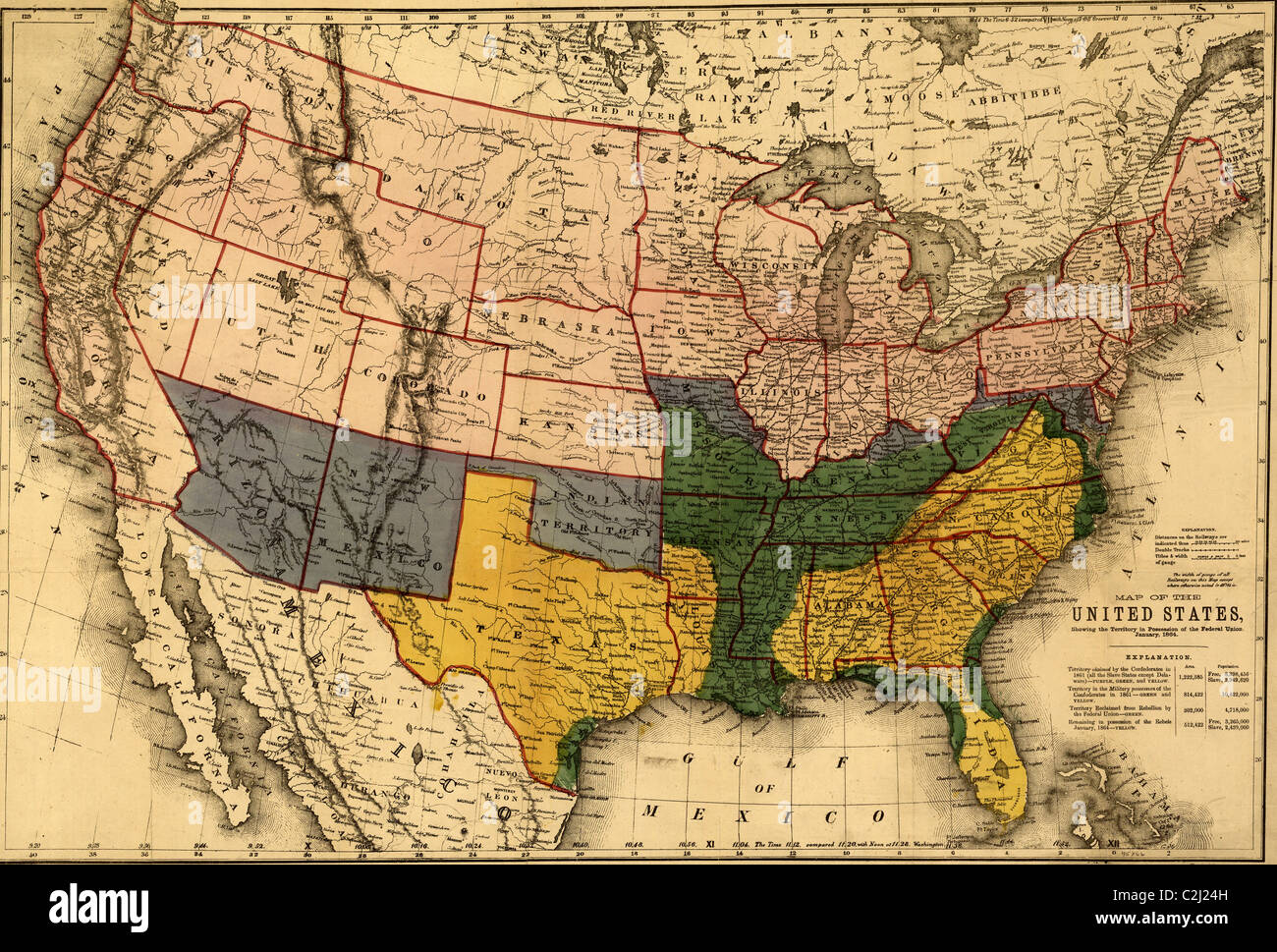 US territory in possession of the Federal Union, January, 1864. - Stock Image
