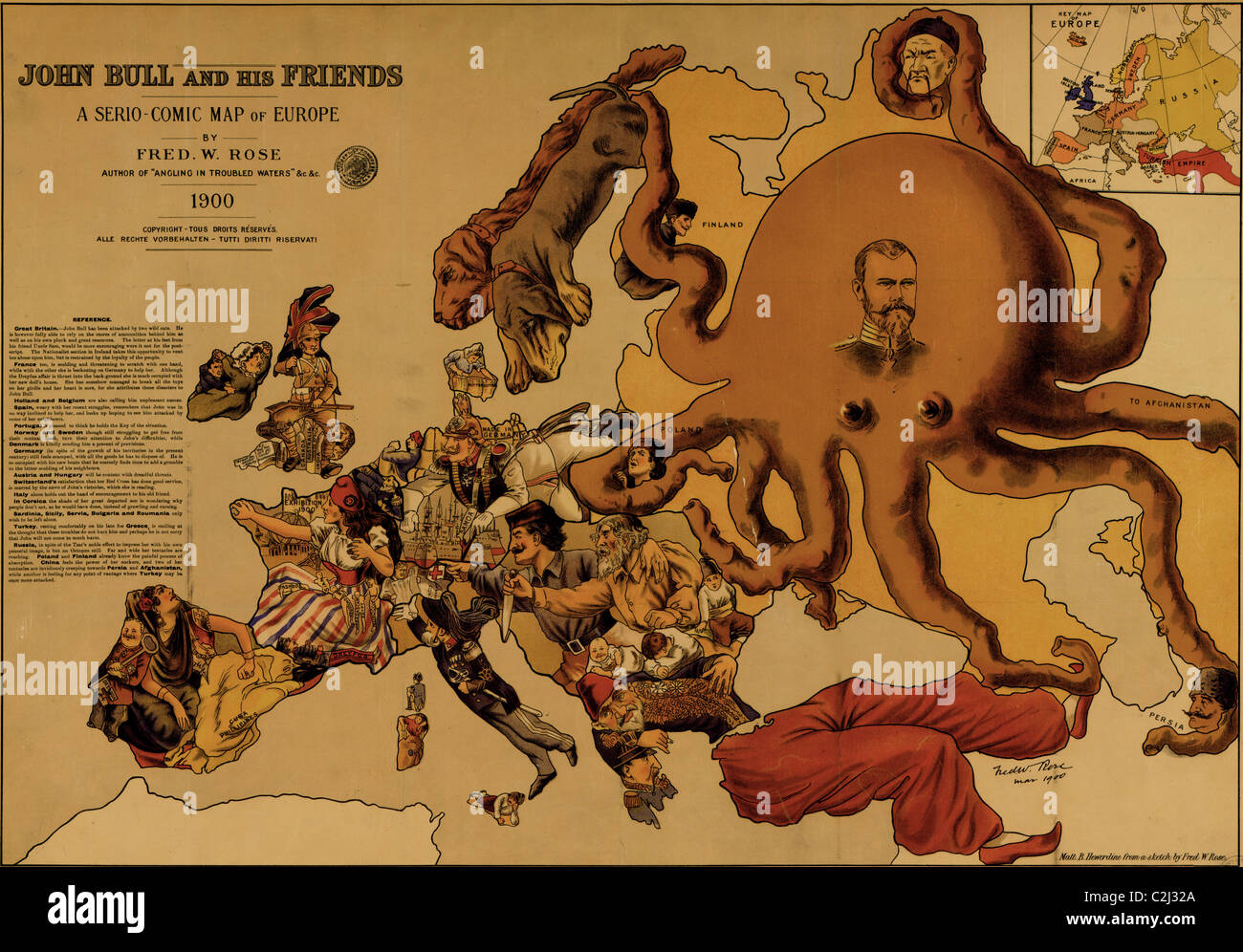 John Bull and his friends : a serio-comic map of Europe - 1900 - Stock Image