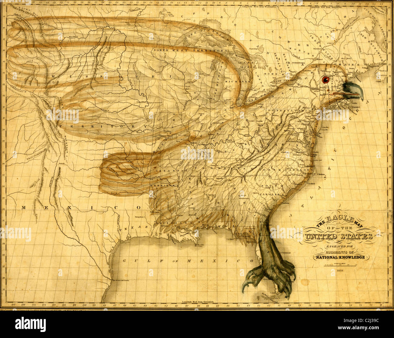 Eagle Map of the United States 1832 Stock Photo 36047800 Alamy