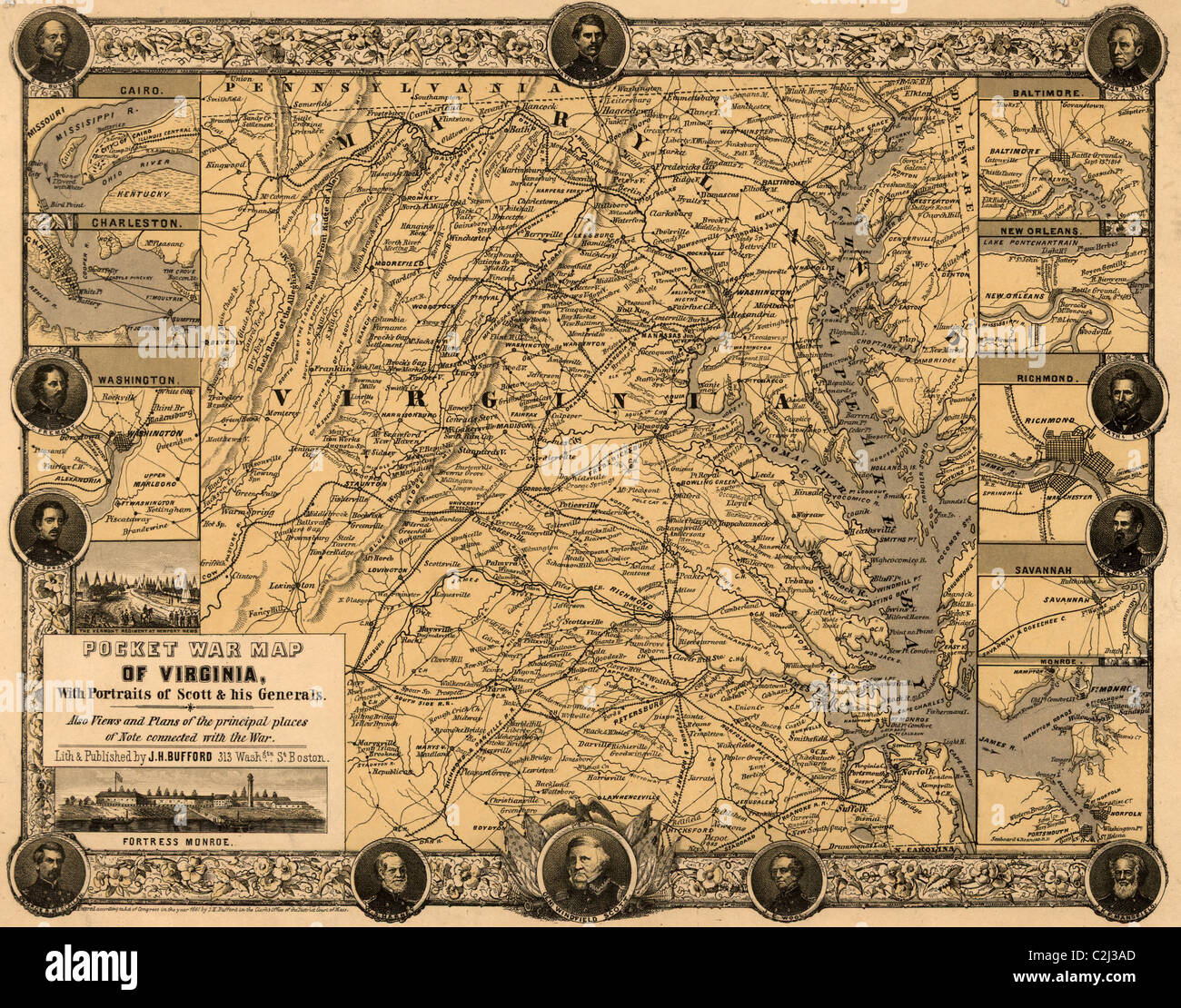 Pocket war map of Virginia, with portraits of Scott & his generals. - Stock Image