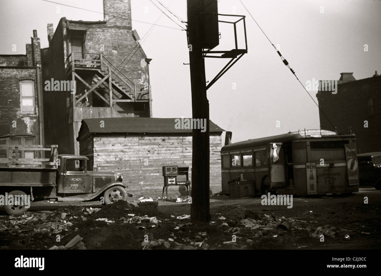 African American Scrap Yard Stock Photo